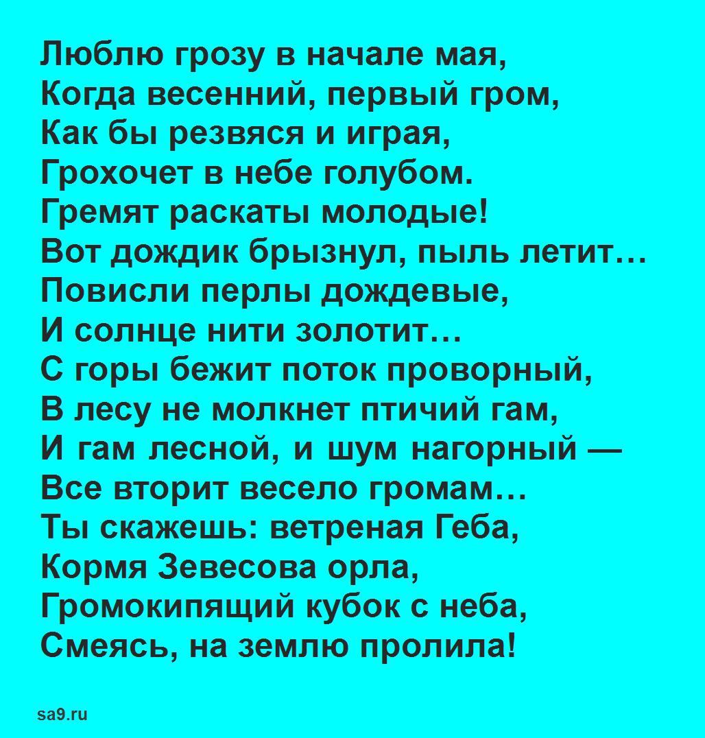 Стих Весенняя гроза Тютчев, 16 строк для детей 2 класса