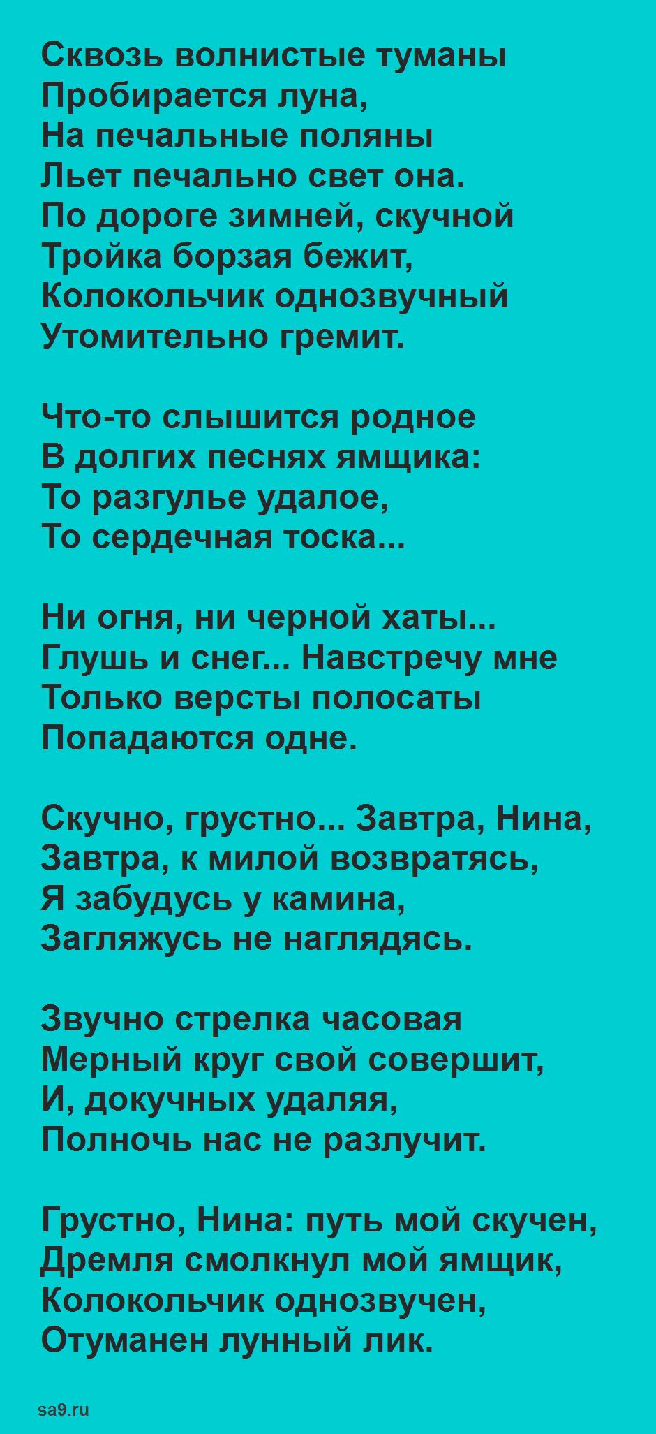 Зимние стихи Пушкина - Зимняя дорога
