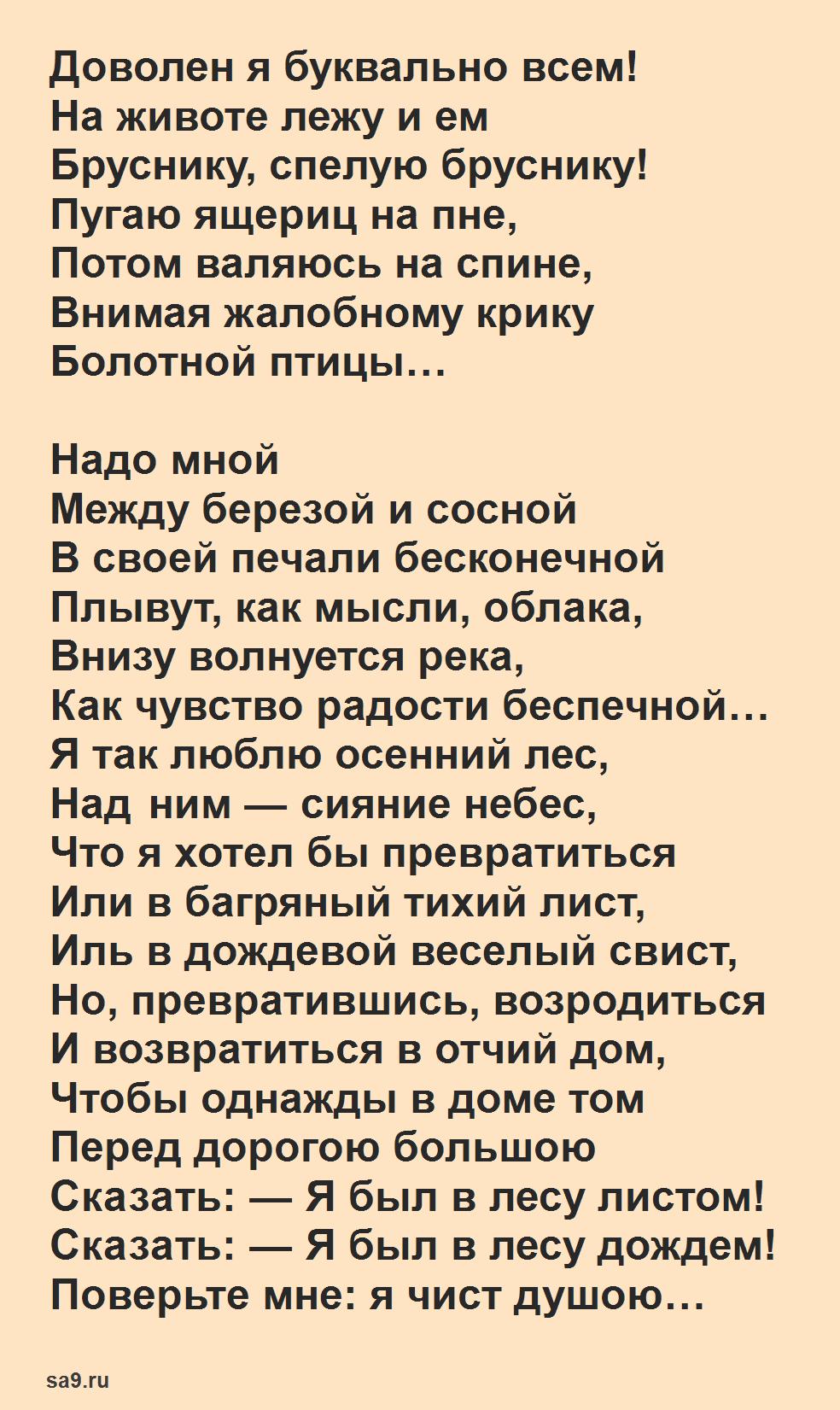 Рубцов стихи о природе - В осеннем лесу