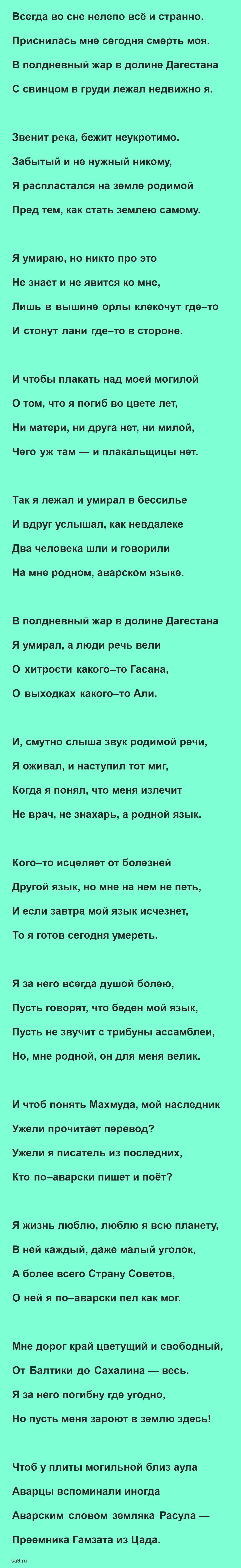 Стихи Гамзатова на русском языке - Родной язык