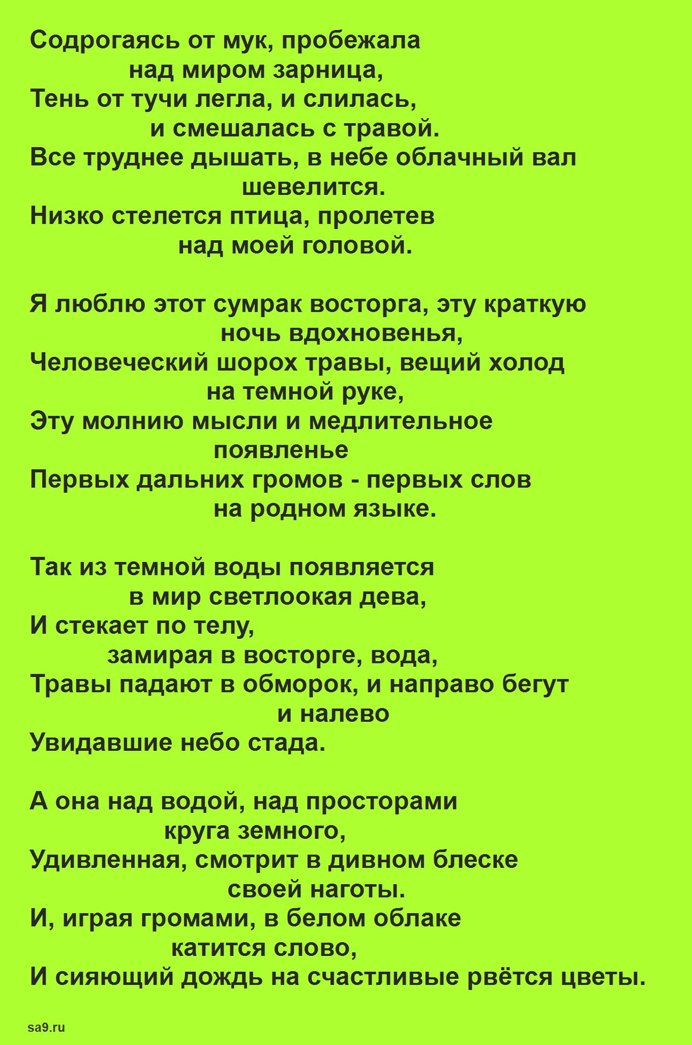 Заболоцкий стихи 16 строк - Гроза