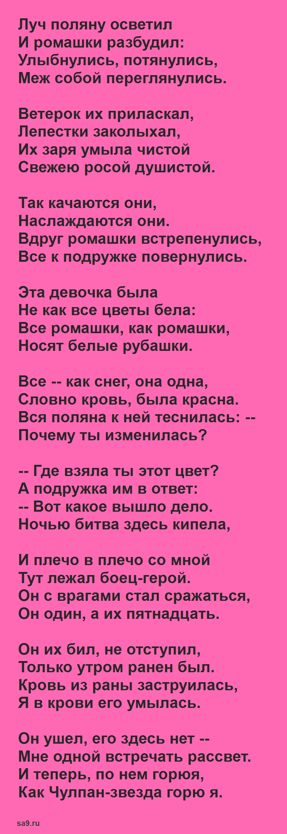 Муса Джалиль стих - Красная ромашка