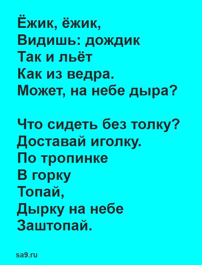 Стихи для детей 4 - 5 лет - Ежик и дождик, Владимир Степанов