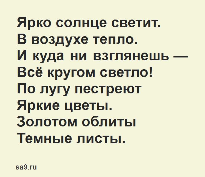 Стихи о лете для детей 6 - 7 лет - Ярко солнце светит, Суриков, для заучивания наизусть