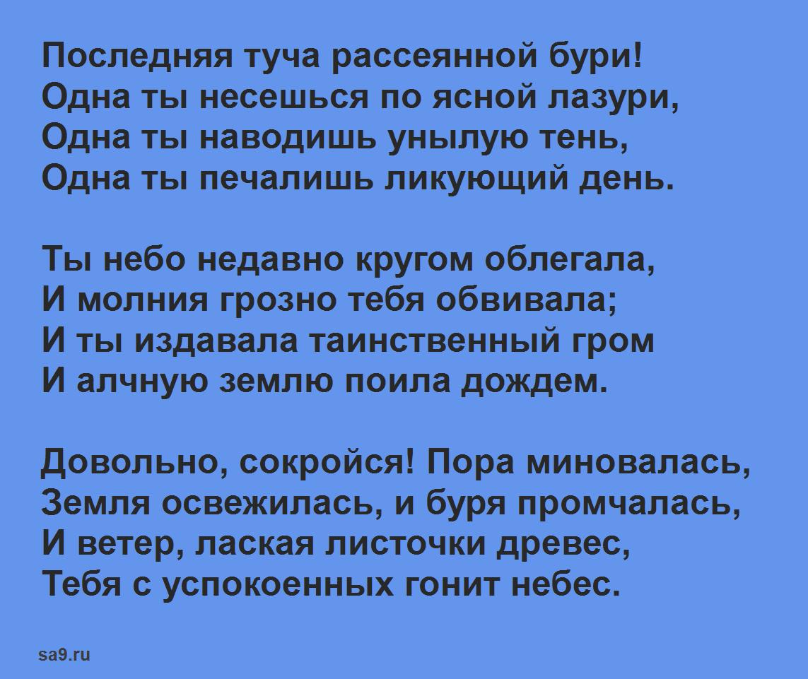 Стихи Пушкина о лете для детей 7 - 8 лет - Туча, для заучивания наизусть