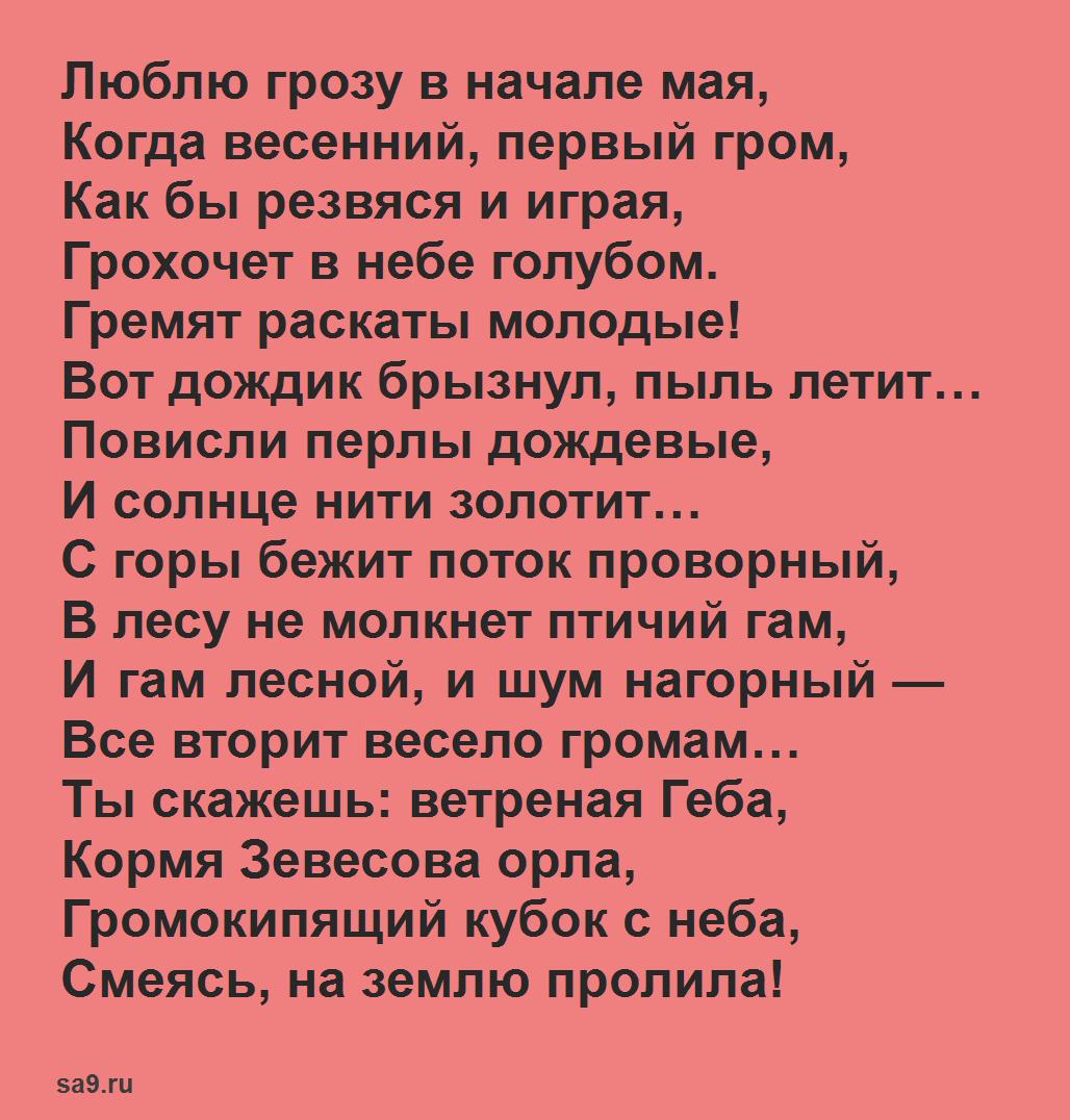 Красивые, легкие стихи Тютчева о весне - Весенняя гроза, легко учащиеся