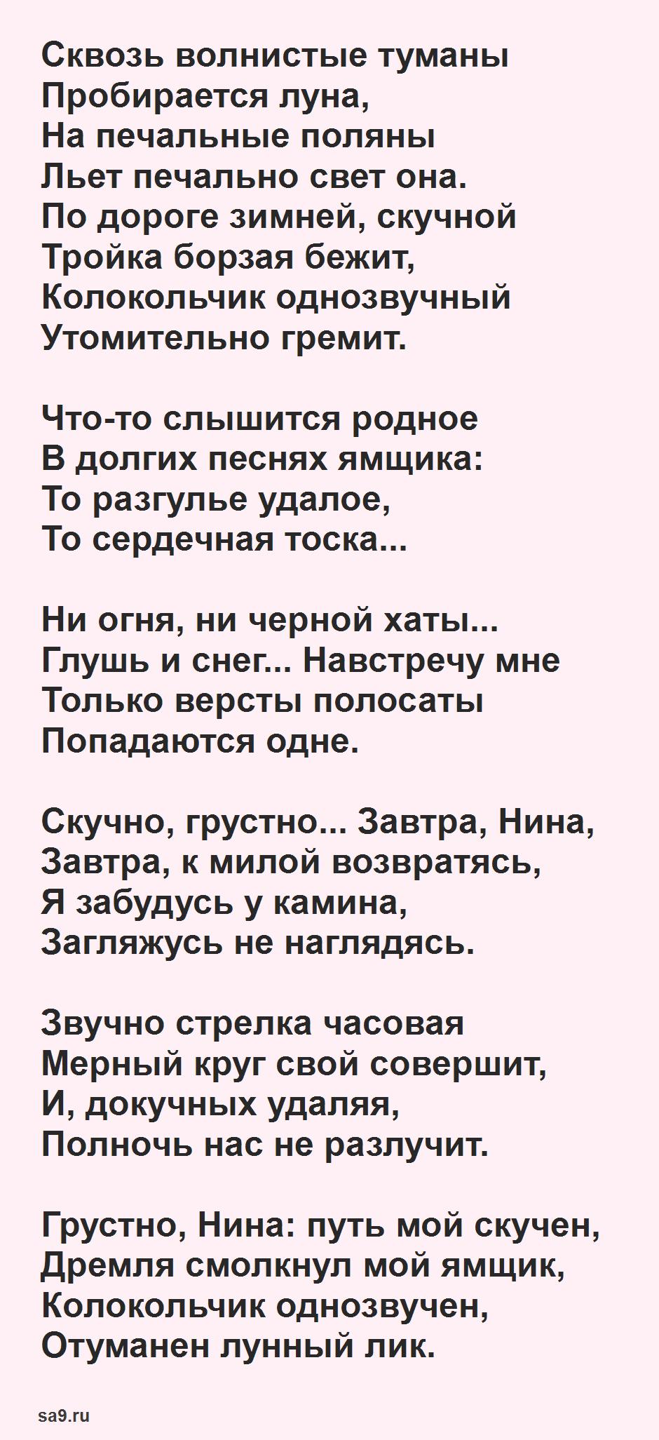 Красивые стихи Пушкина - Зимняя дорога