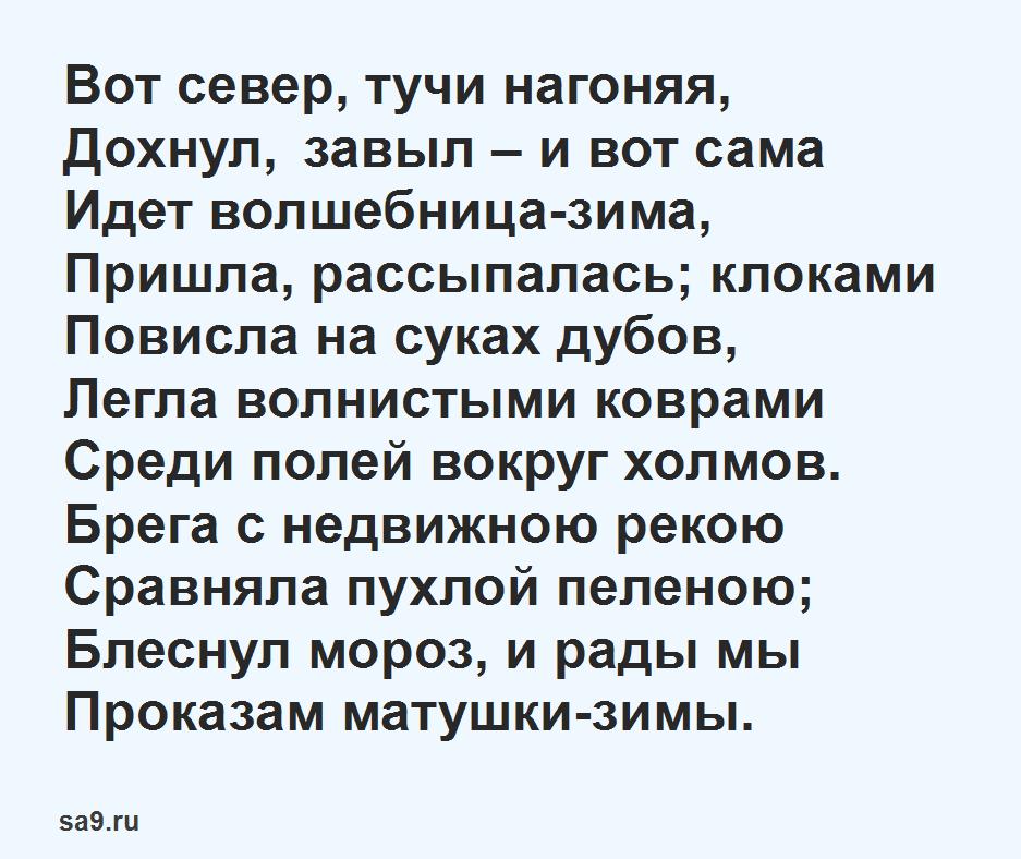 Стихи про зиму для детей - Вот север тучи нагоняя, Пушкин, которые легко учатся