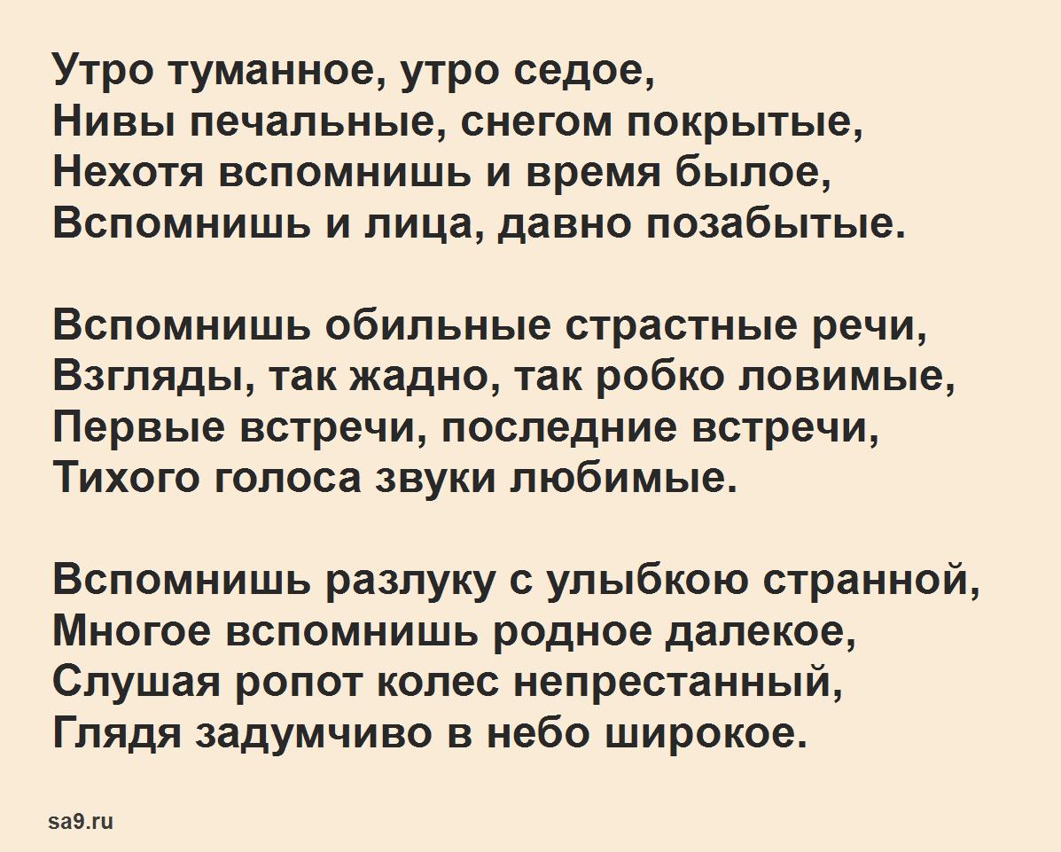 Читать короткие, легкие стихи Тургенева - В дороге