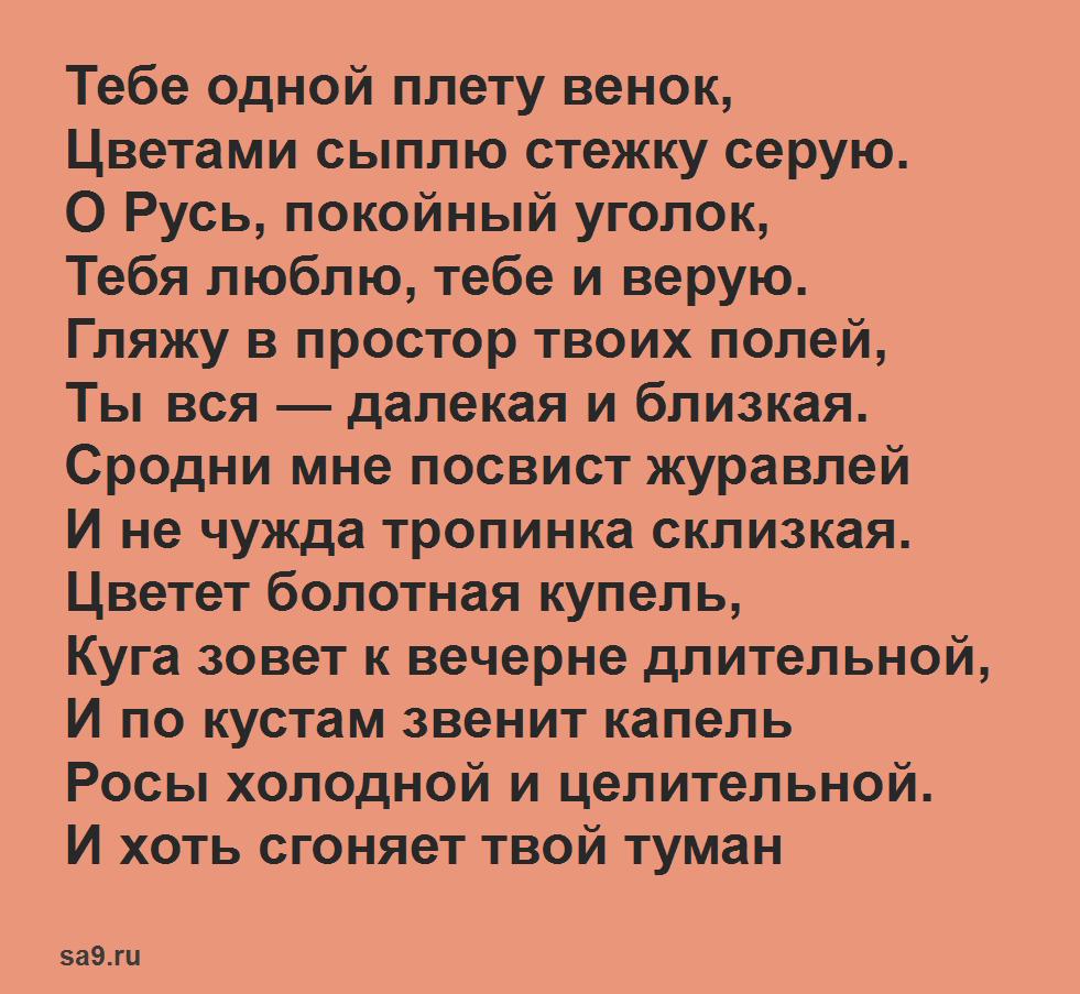 Стих Родина о природе - Руси, Есенин