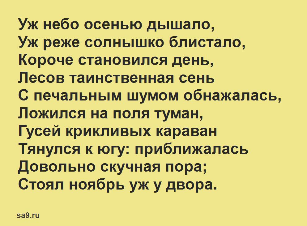Короткие, красивые стихи Пушкина о природе - Уж небо осенью дышало