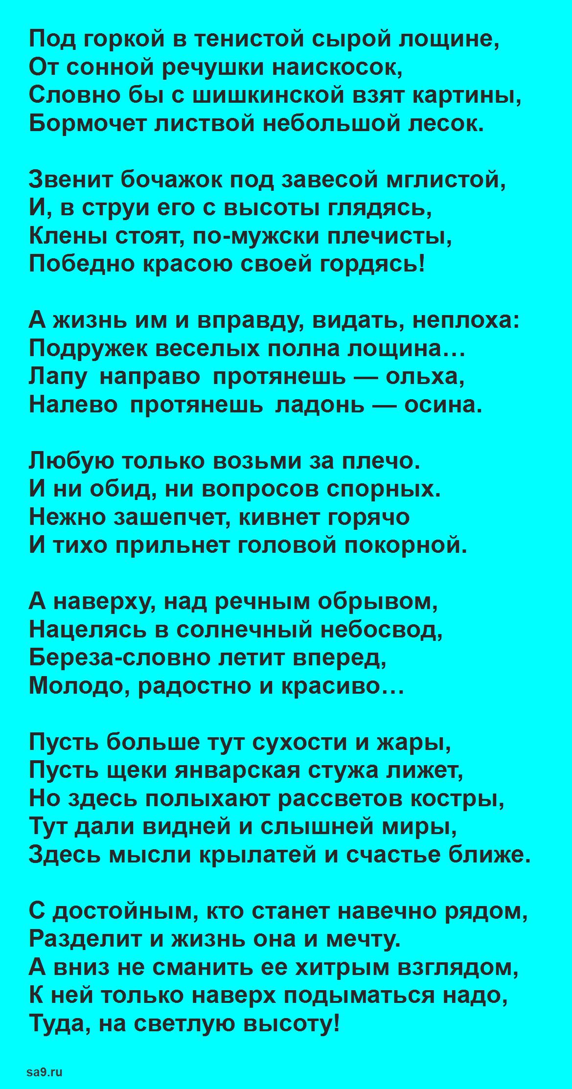 Читать лучшие стихи Асадова о жизни - Высота