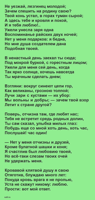 Читать стихи про Родину - Прощанье, Лермонтов