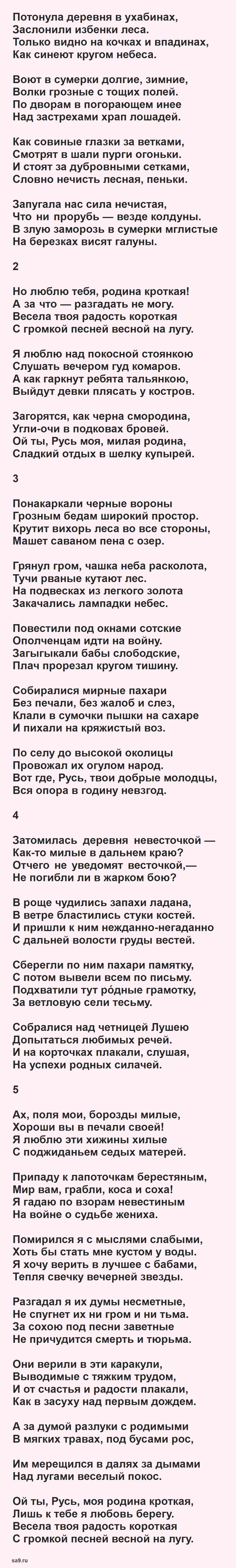 Есенин стихи о Родине - Русь