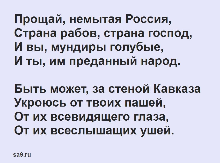 Лермонтов стихи о Родине короткие - Прощай немытая Россия