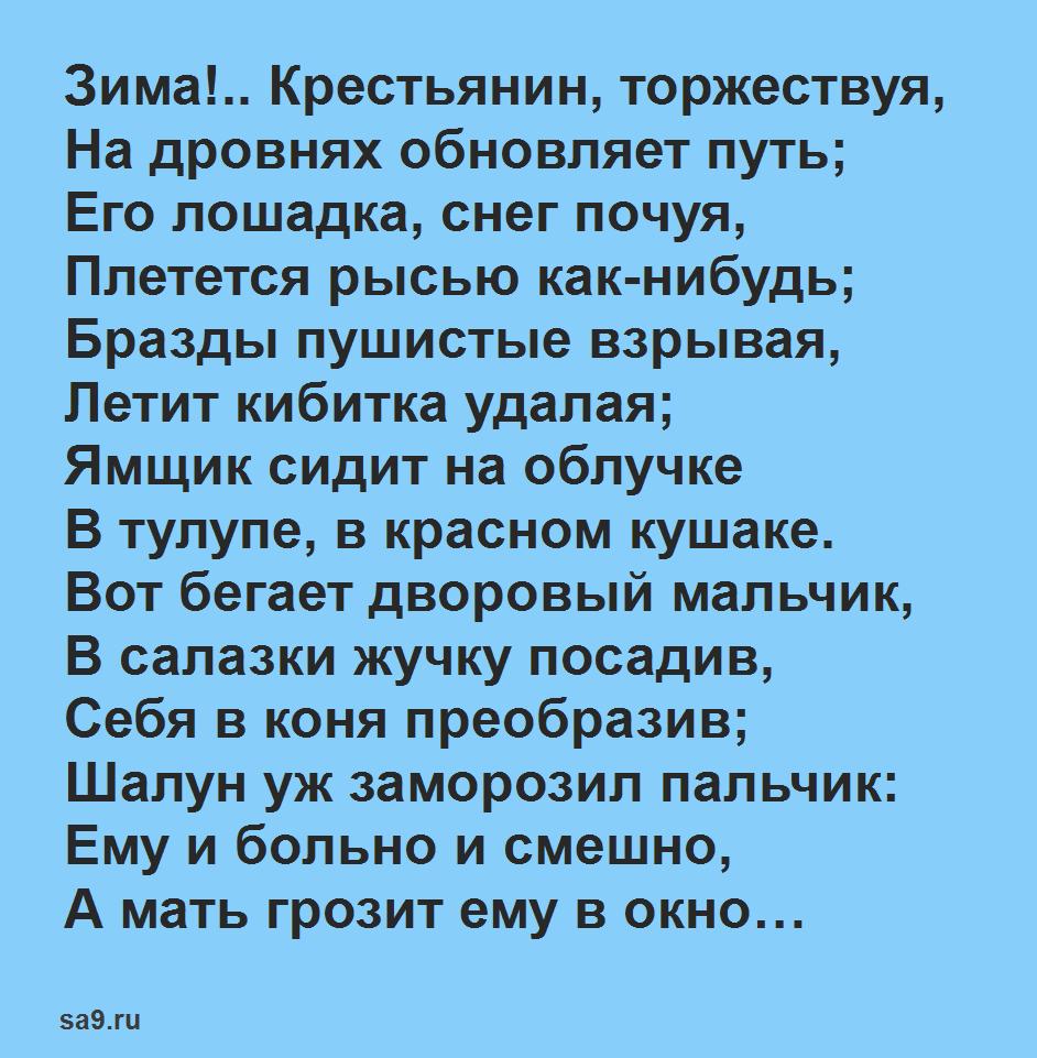Стихи для школьников 4 класса - Зима! Крестьянин, торжествуя, Пушкин