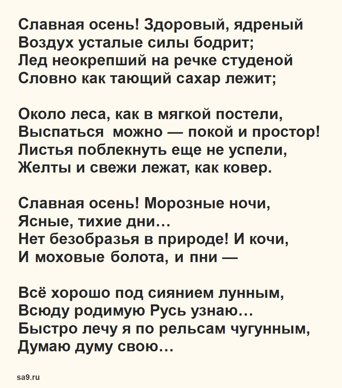 Стихи для школьников, Некрасов - Славная осень, 4 класс