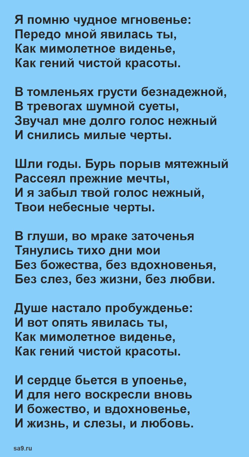 Стихи Пушкина для детей - Я помню чудное мгновенье, для заучивания наизусть