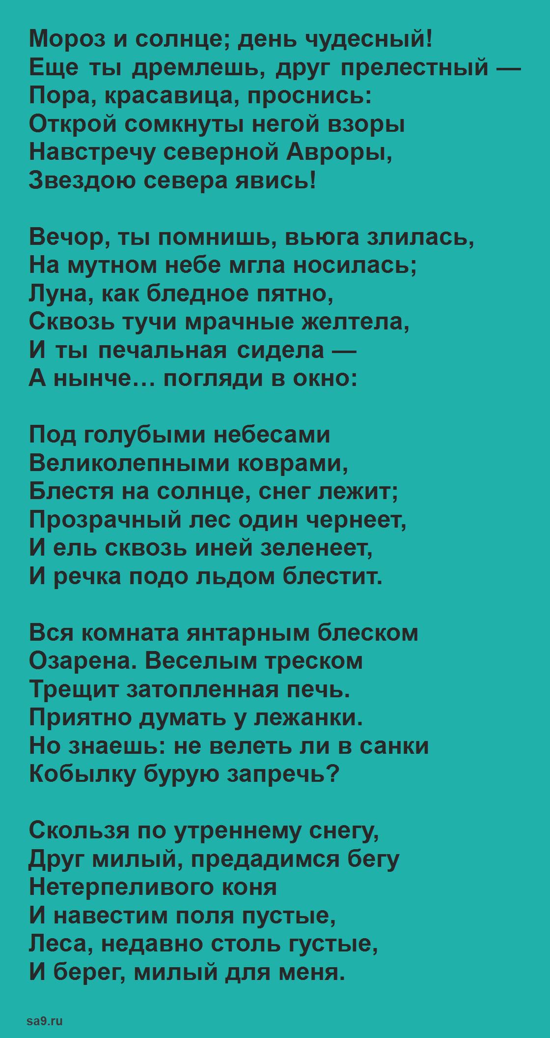 Стихи Пушкина для детей 4 класса - Зимнее утро, для заучивания наизусть