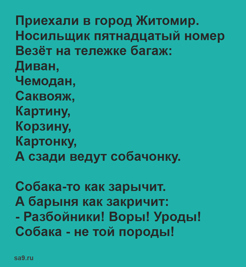 Стих 'Багаж', для детей полностью