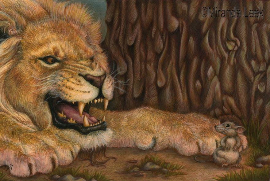 Басня Лев испуганный мышью, Диего Веласкес Эзопа