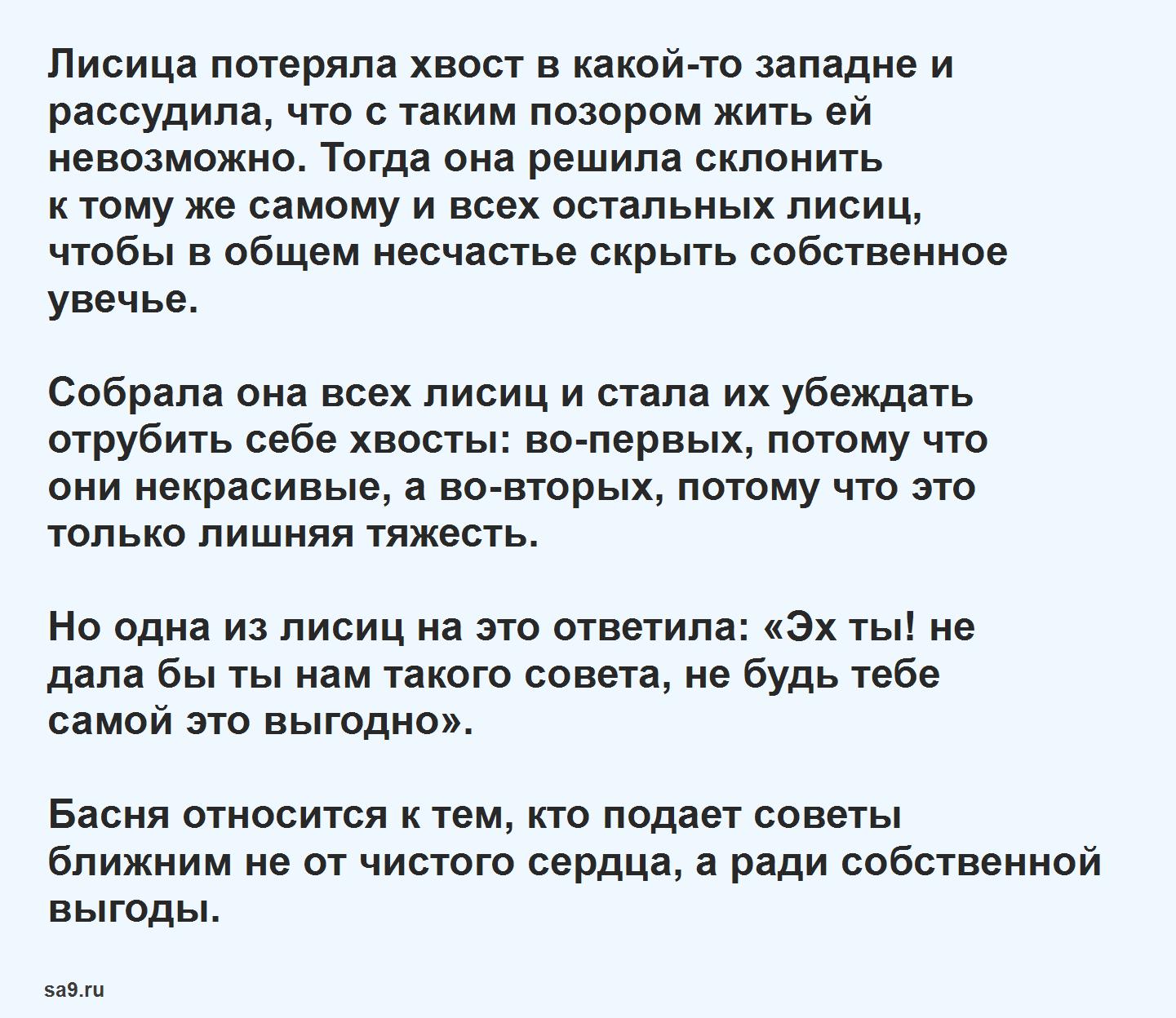Басня Эзопа 'Бесхвостая лисица', текст басни читать полностью