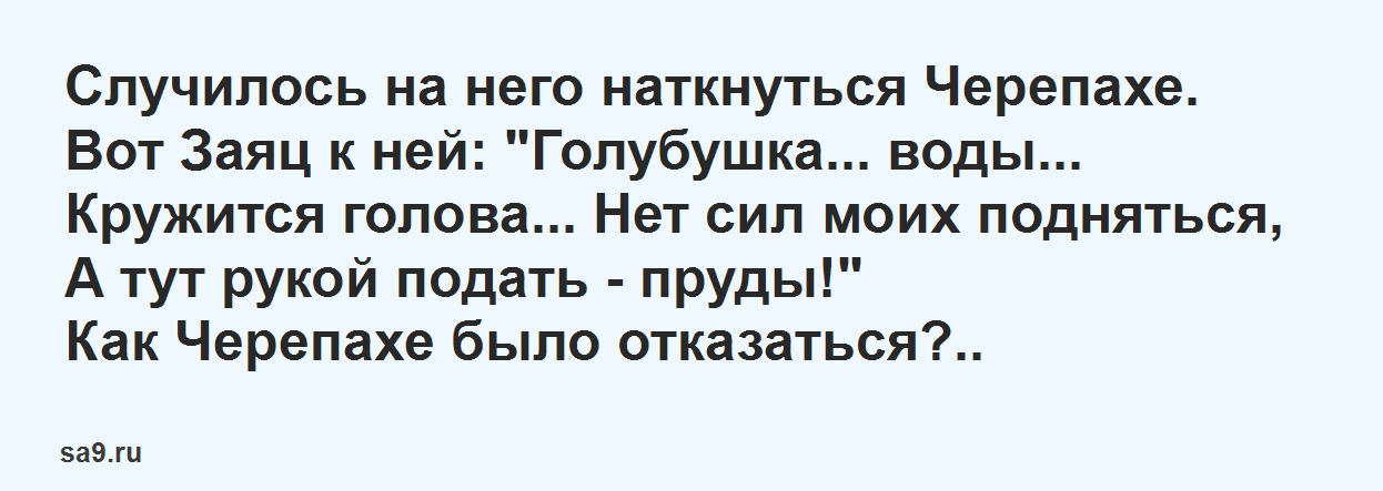 Басня Михалкова'Заяц и Черепаха'