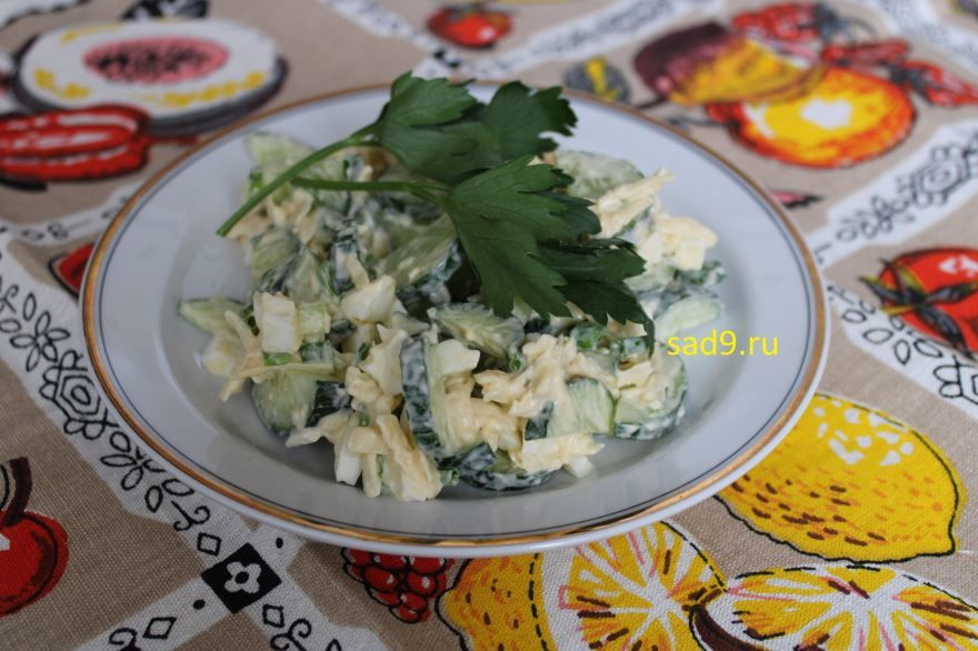 Салат с огурцом и яйцом, вкусный и простой салат