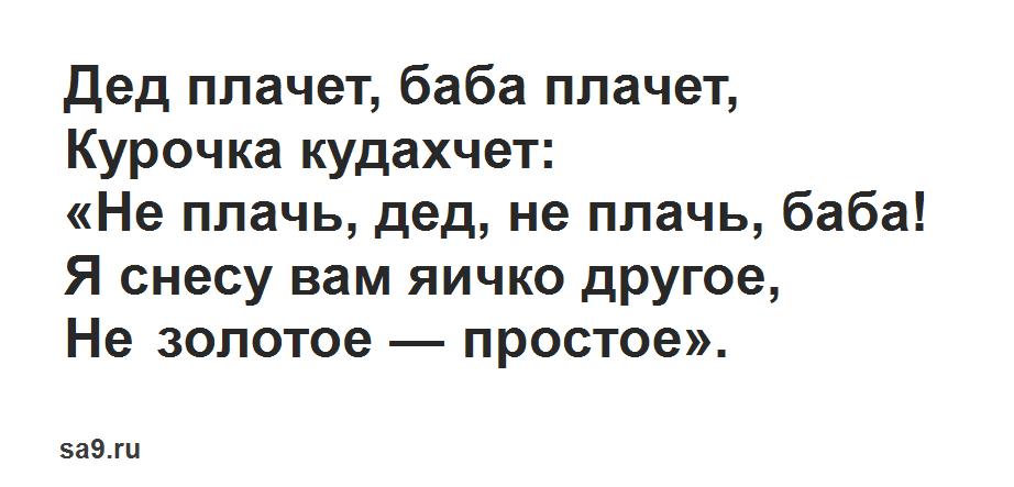 Читать русскую народную сказку Курочка Ряба для детей, полностью