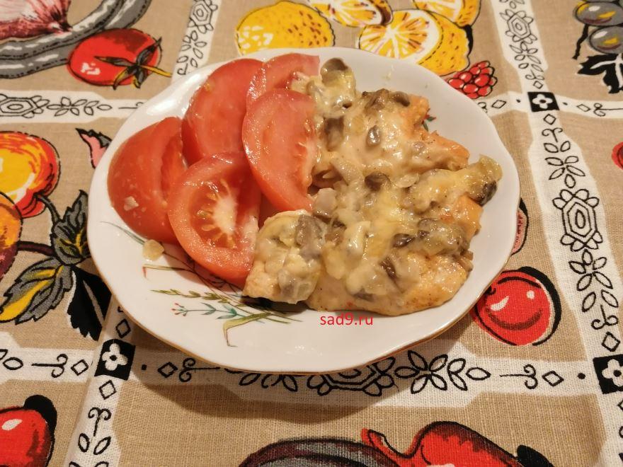 Курица с грибами в духовке рецепт с фото пошагово