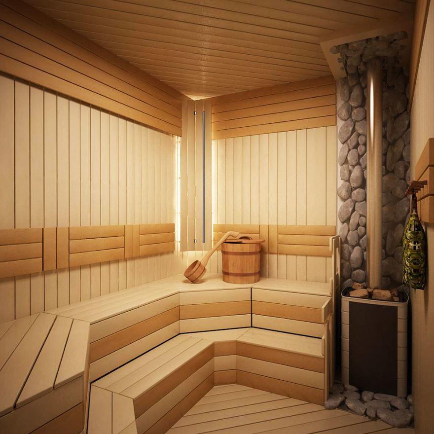 Печь для бани и красивая отделка изнутри