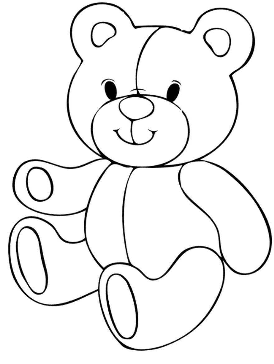 Раскраска для девочки 2 лет - Мишка