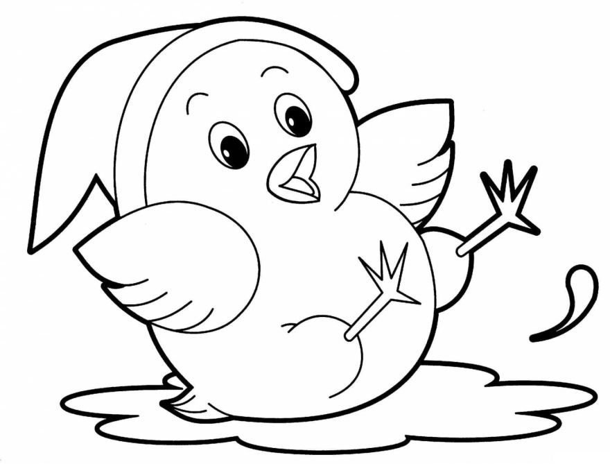 Легкая раскраска для девочки 3 лет - цыпленок
