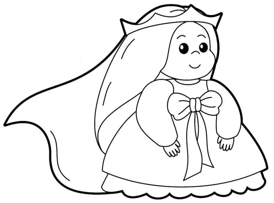 Раскраска для девочек 3 лет - принцесса