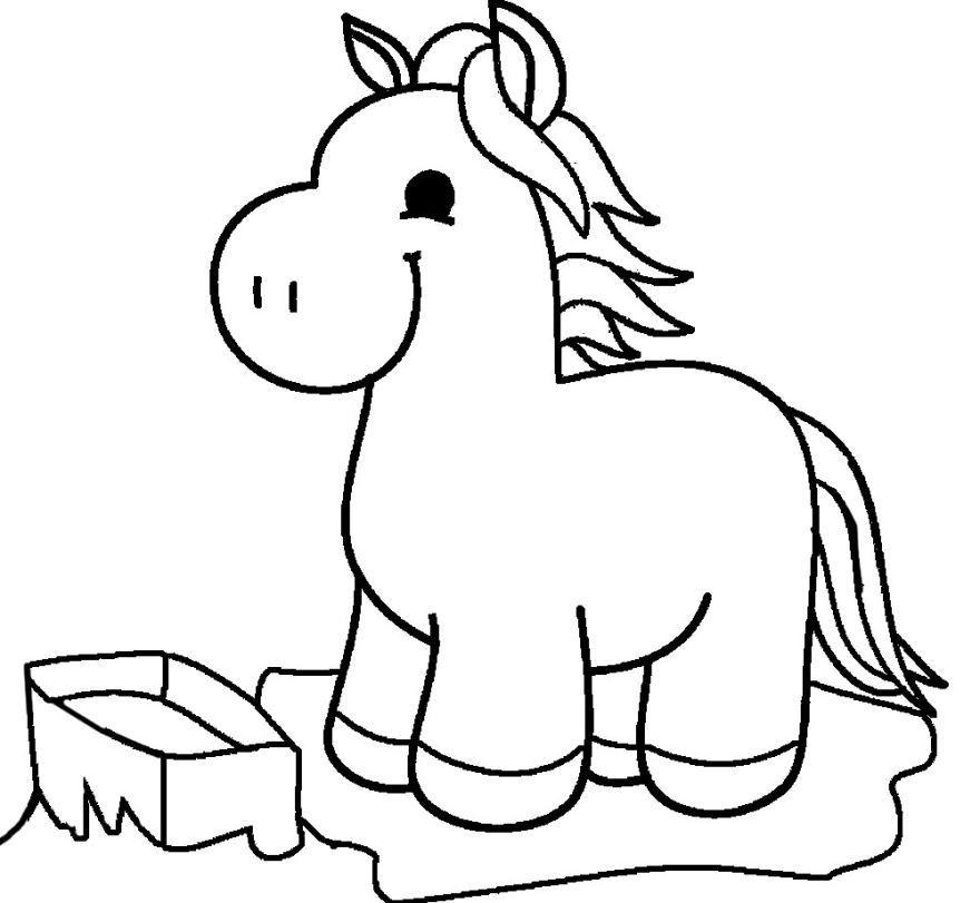 Раскраска для девочек 4 лет - лошадки, крупная