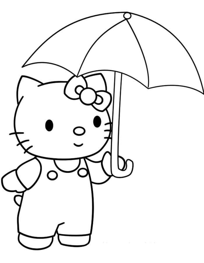 Раскраска для девочек 4 лет - котик