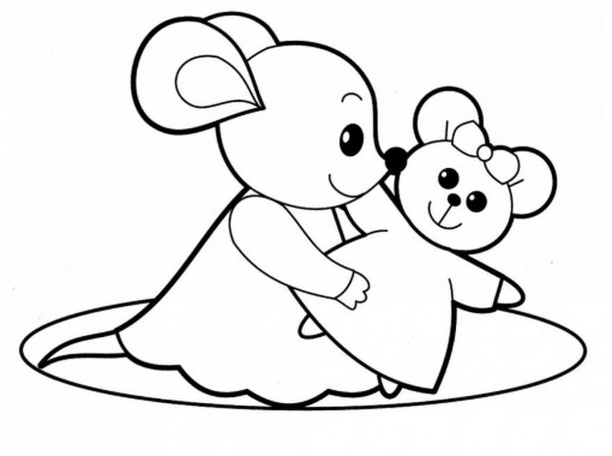 Раскраска для девочек 4 лет - мышка