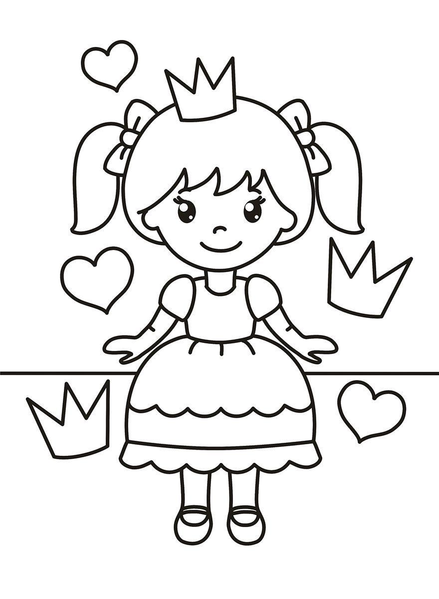 Раскраска для девочек 5 лет - принцесса