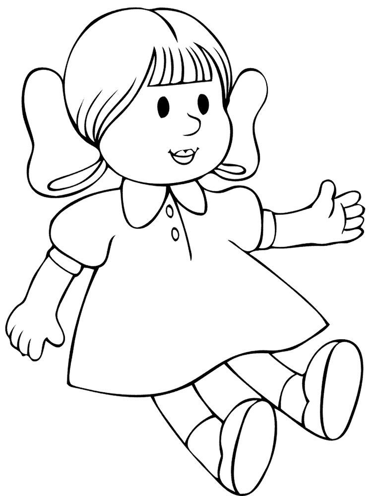 Раскраска для девочки 5 лет - кукла, скачать и распечатать бесплатно