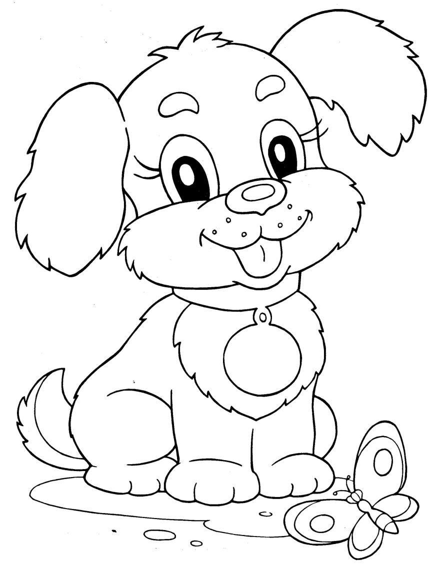 Раскраска для девочки 5 лет - собачка, скачать и распечатать бесплатно