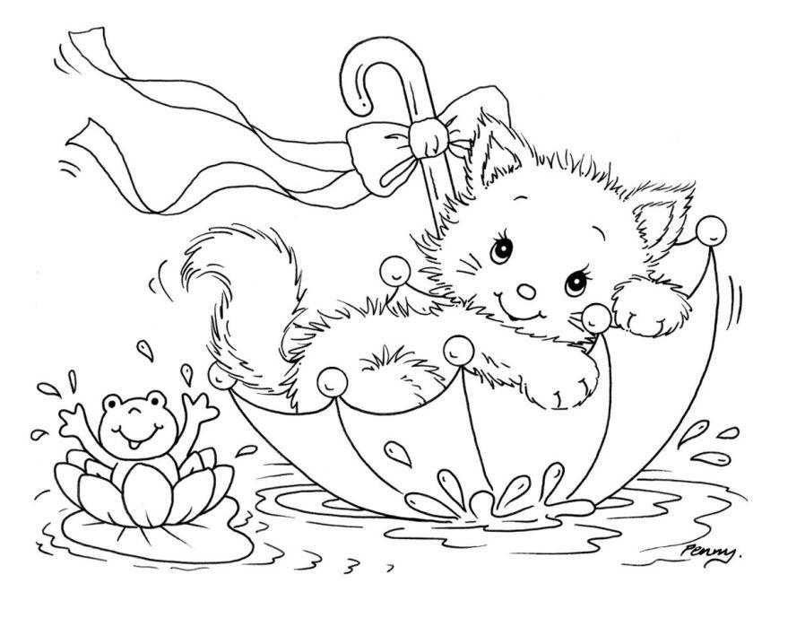 Раскраска для девочек 6 лет - котенок