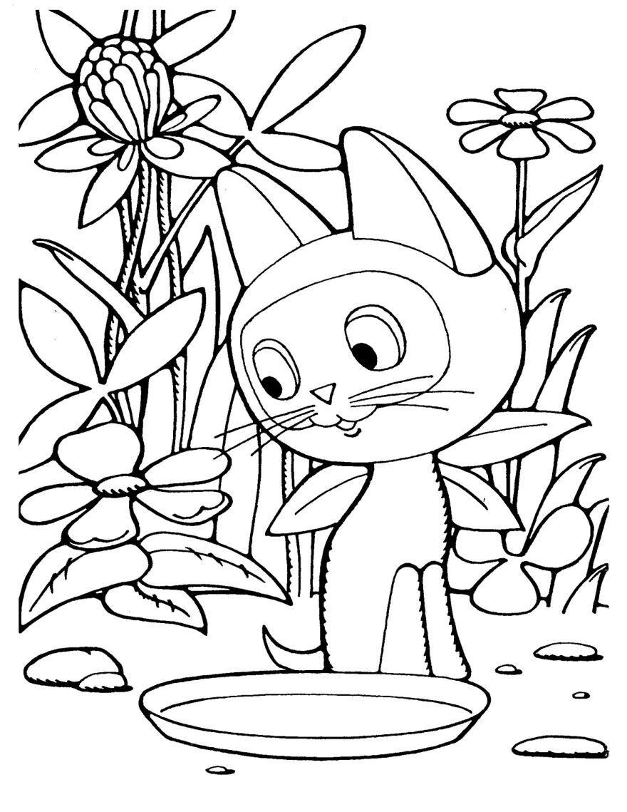 Раскраска для девочек 6 лет - котенок Гав