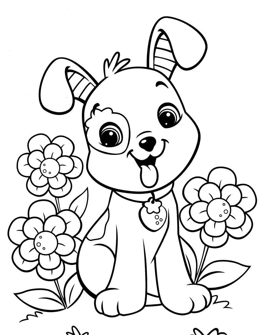 Раскраска для девочек 6 лет - собачка