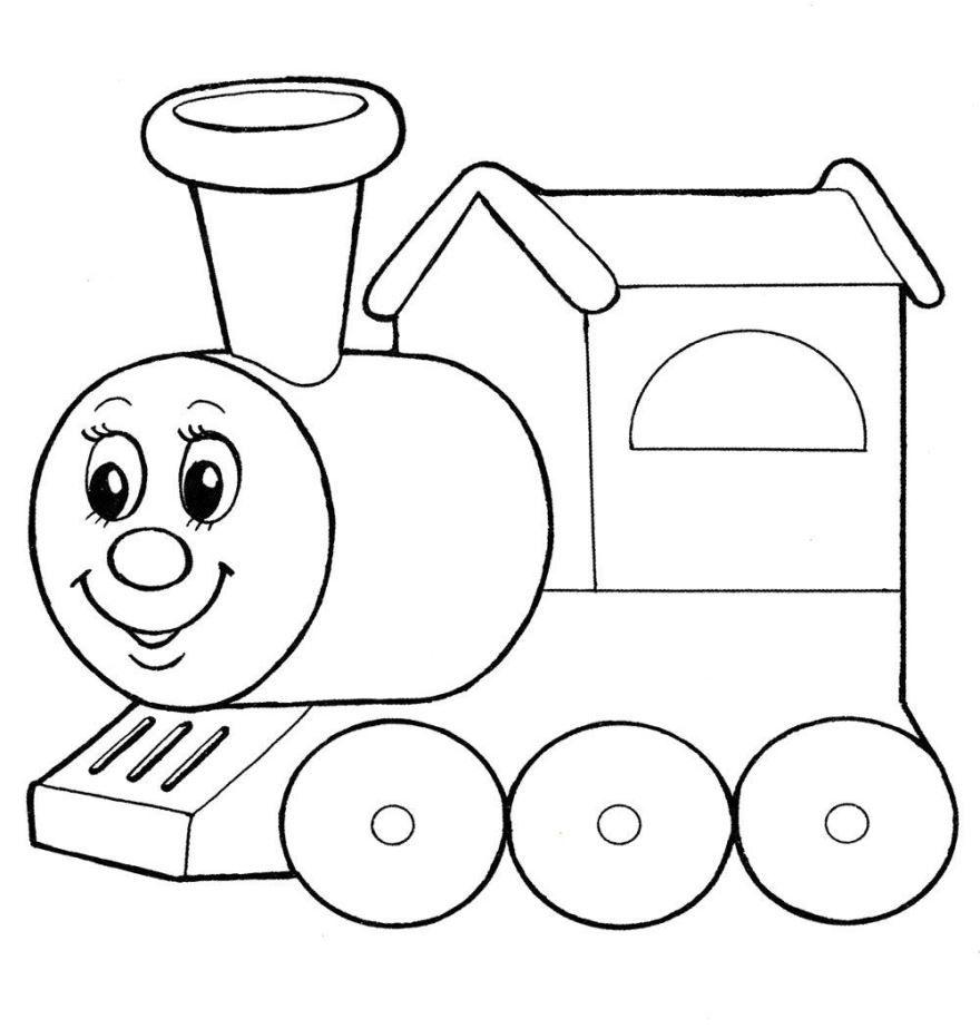 Раскраска для мальчика 3 лет - паровоз