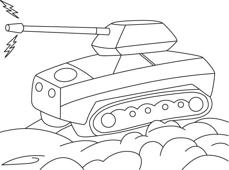 Раскраска для мальчиков 4 лет - танк