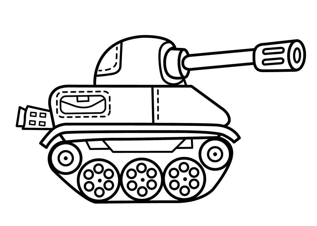 Раскраска для мальчиков 5 лет - танк