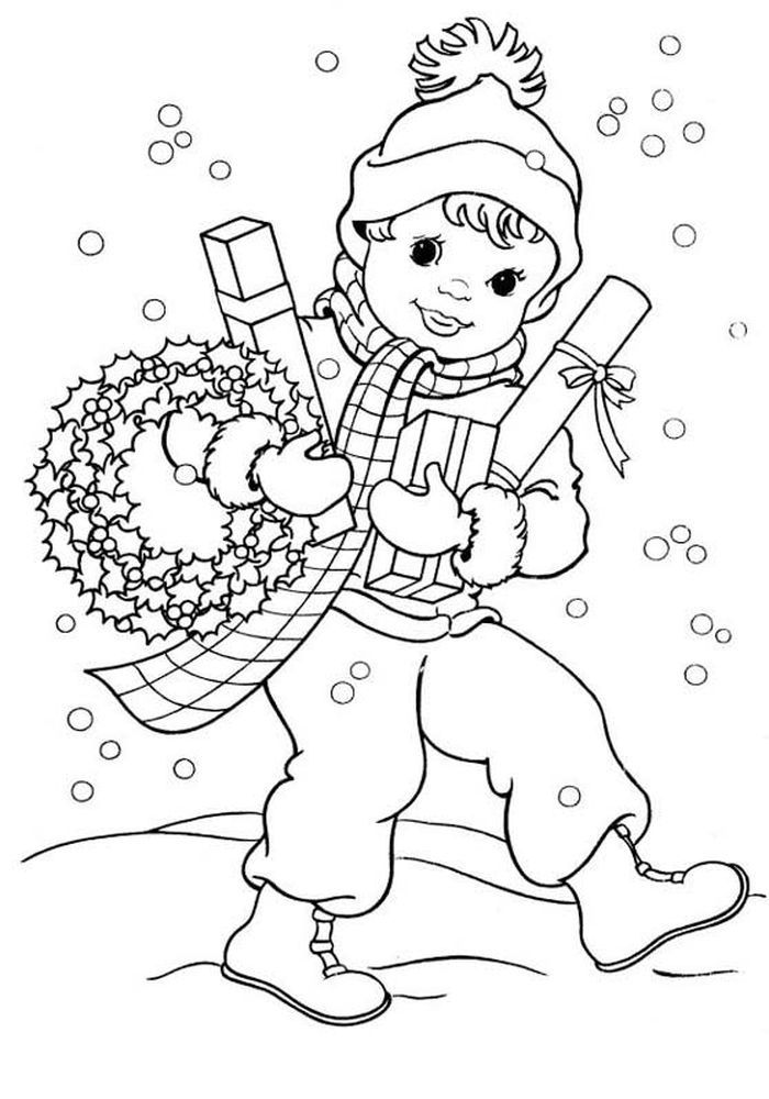 Новогодняя раскраска для мальчика 6 лет, распечатать бесплатно