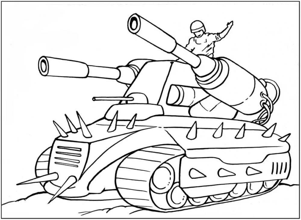 Раскраска танк, для детей