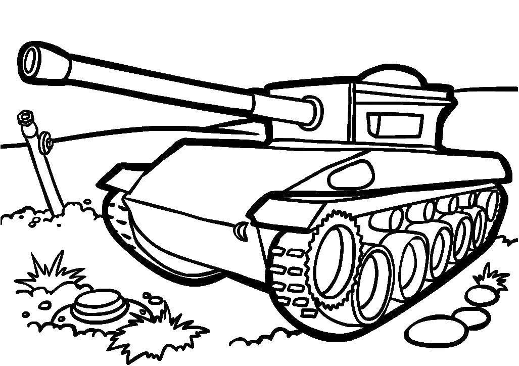 Распечатать раскраску танк, для мальчиков