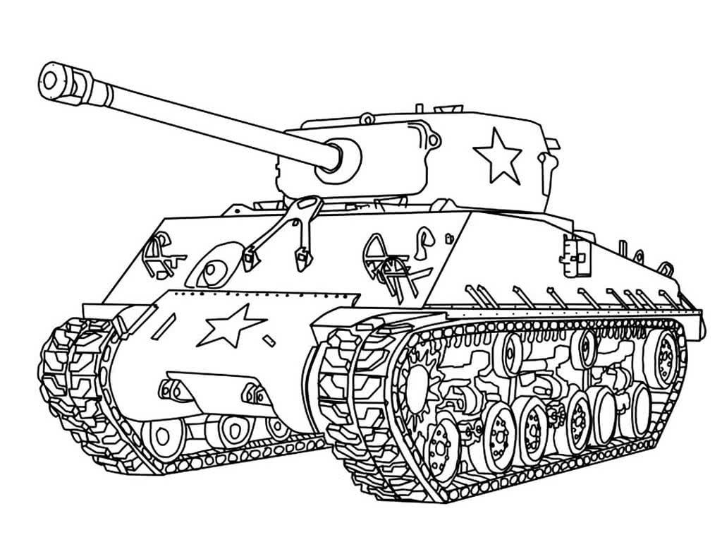 Раскраска военный танк